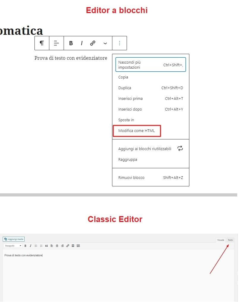 Modifica HTML articolo