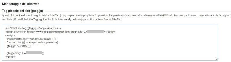 Codice di monitoraggio per collegare il sito a Google Analytics