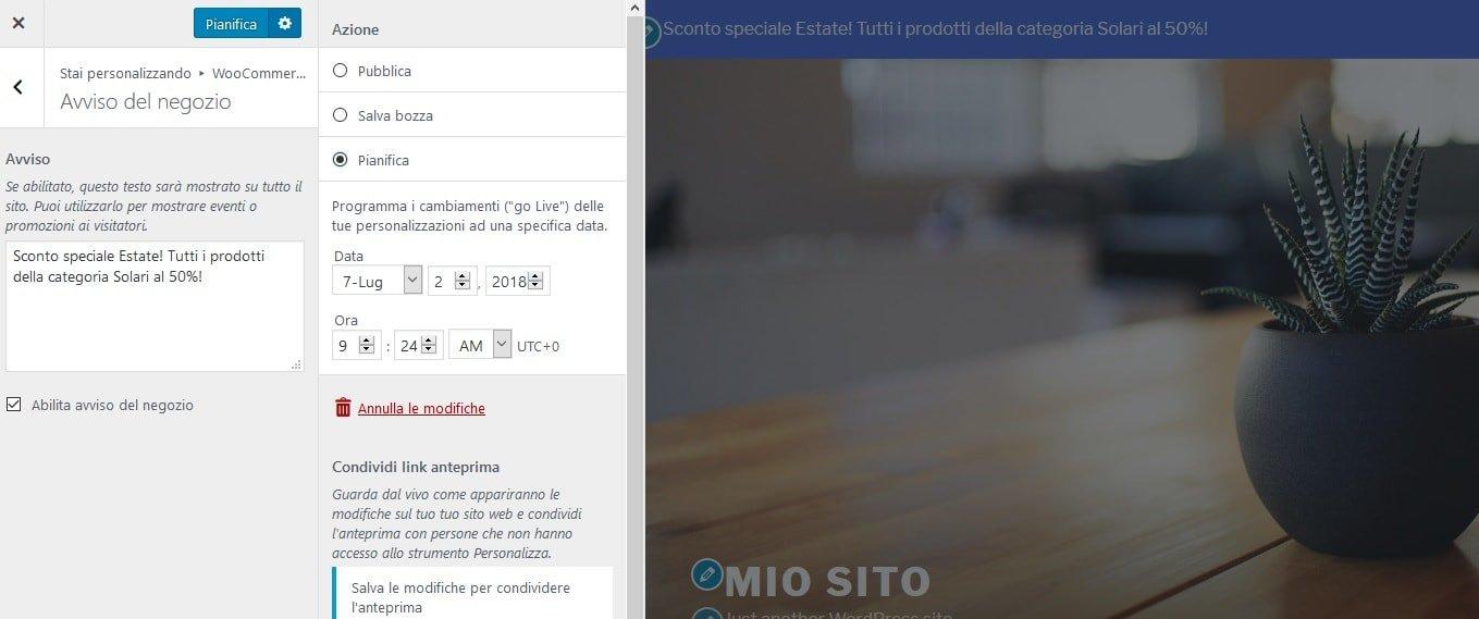 creare un sito ecommerce con WooCommerce - gestire gli avvisi e le notifiche