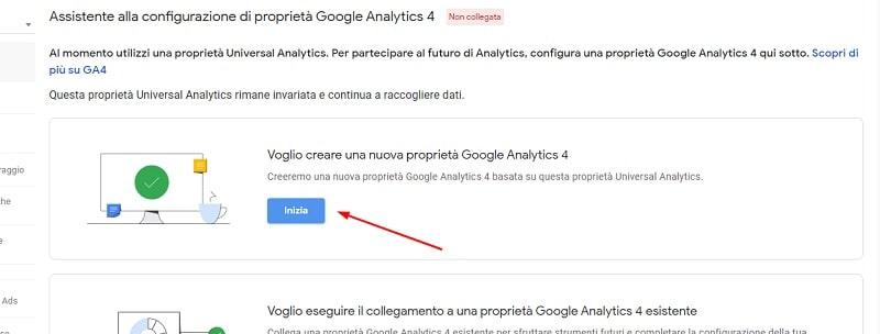 Nuova proprietà Google Analytics 4