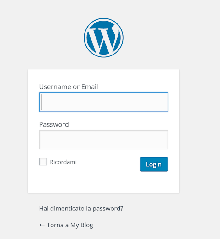nuovo login wordpress