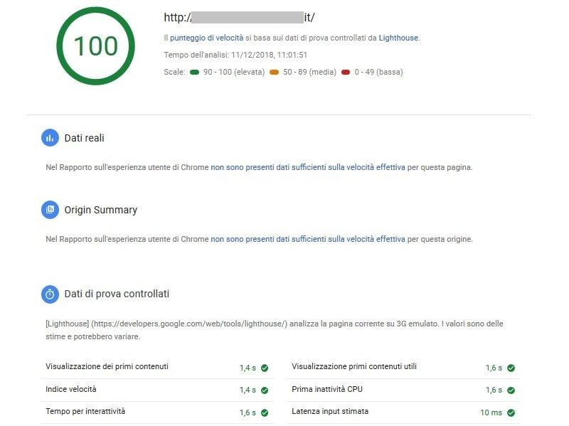 Google Pagespeed misura la velocità della pagina