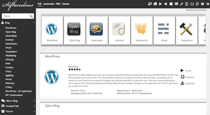 WordPress in italiano tramite Softaculous