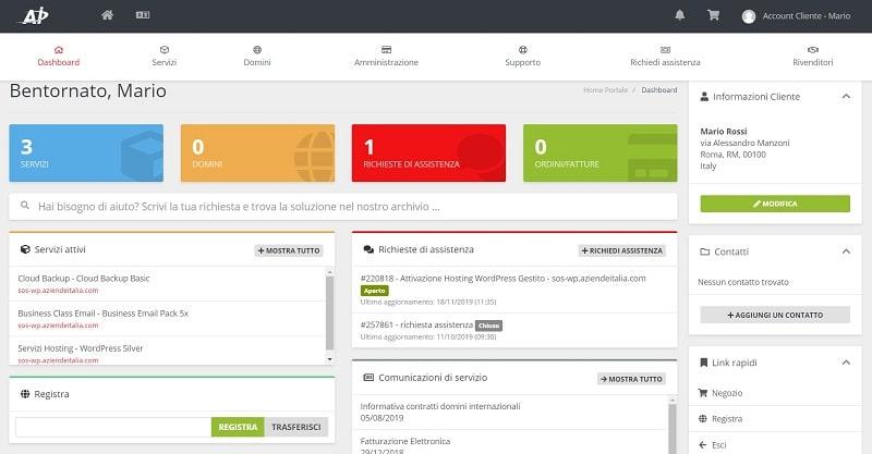 Pannello utente hosting Aziende Italia