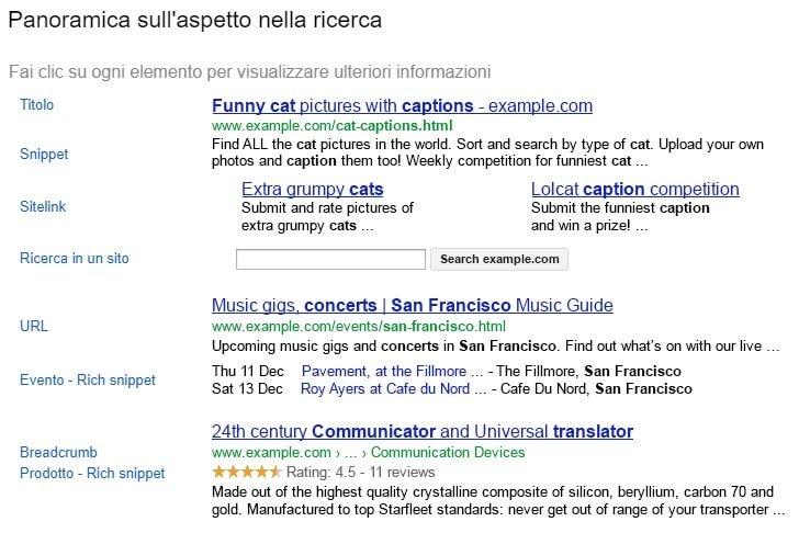 Aspetto delle ricerche con Google