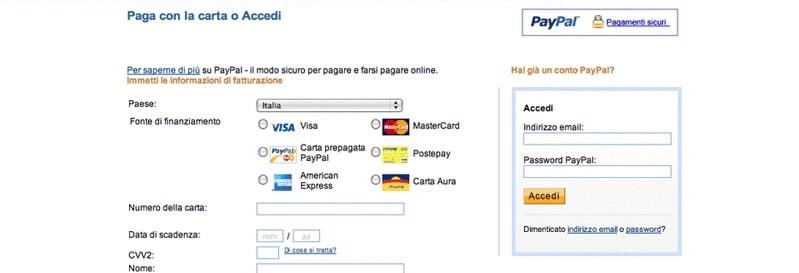 Accettare pagamenti con carta di credito sul tuo sito usando PayPal