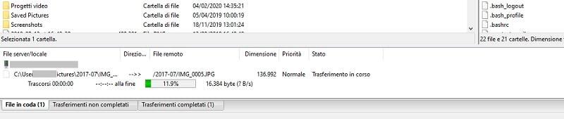 percentuale trasferimento file