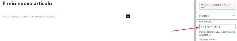 Modificare un permalink col Block Editor