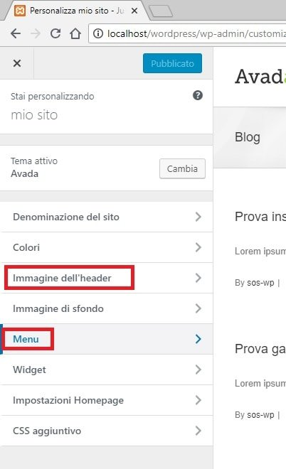 Pannello Personalizza di WordPress