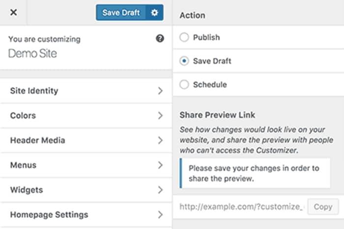 Salvare modifiche a tema in bozza su WordPress 4.9
