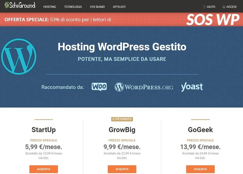 Piani WordPress SiteGround con Sconto