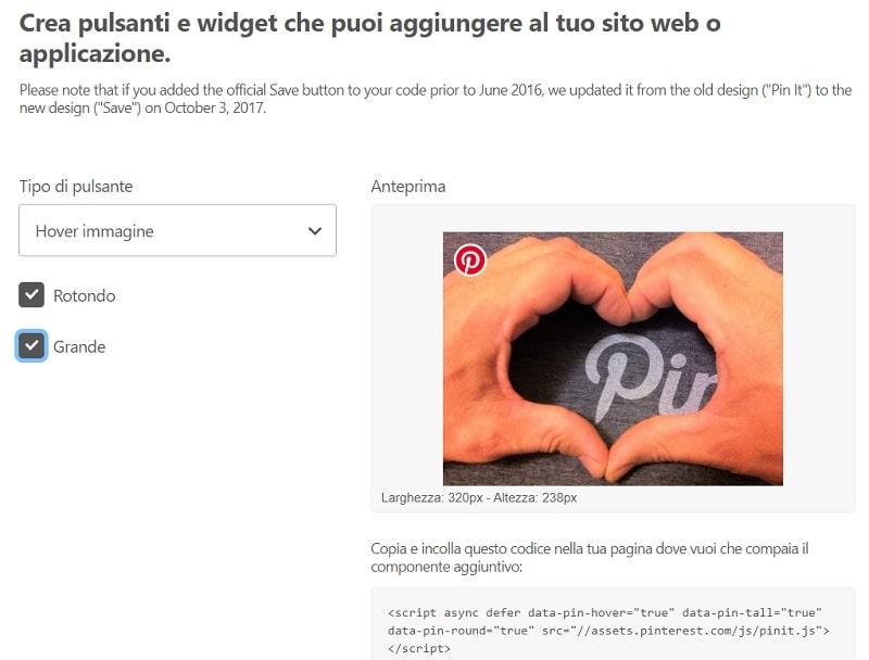 Creazione Pulsante Pin It Pinterest