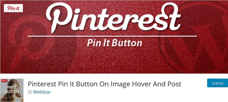plugin Pinterest per WordPress Pin It button