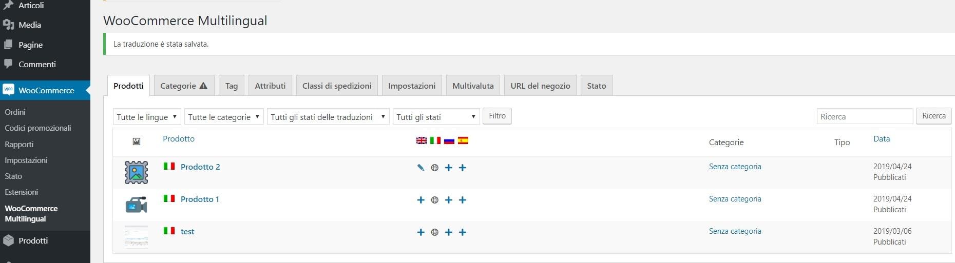 prodotti Woocommerce Multilingual