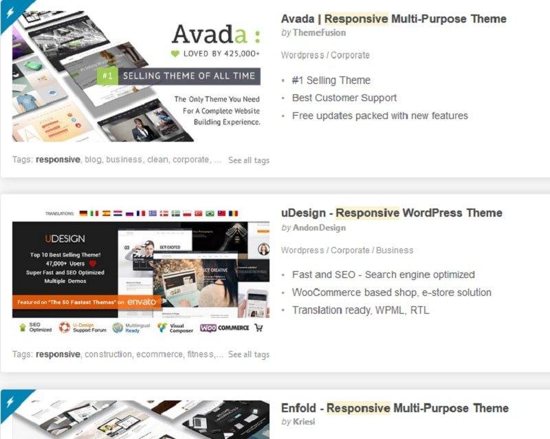 creare un sito responsive - temi responsive Themeforest