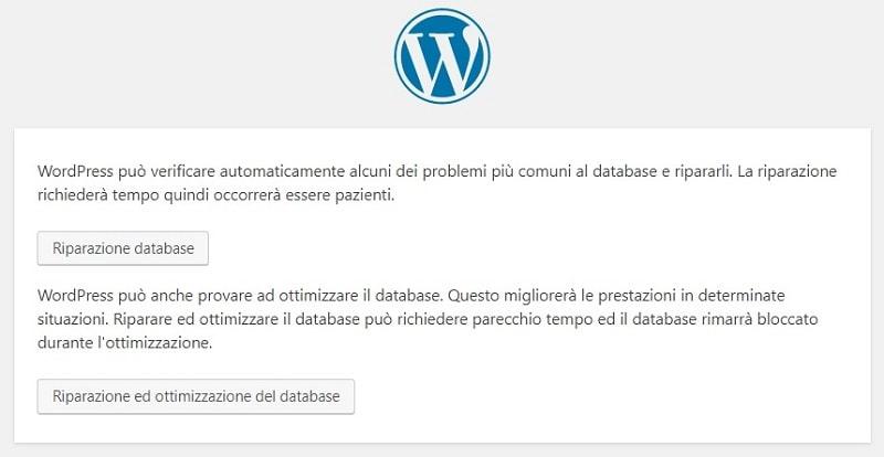 riparazione database per non avere l'errore di connessione al database di WordPress