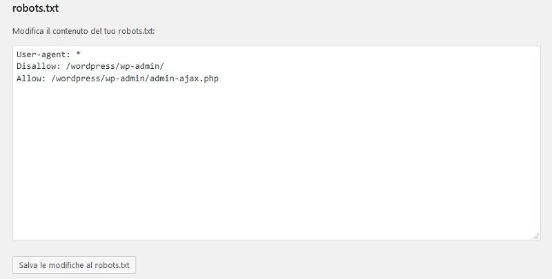 modificare il file robots.txt con Yoast