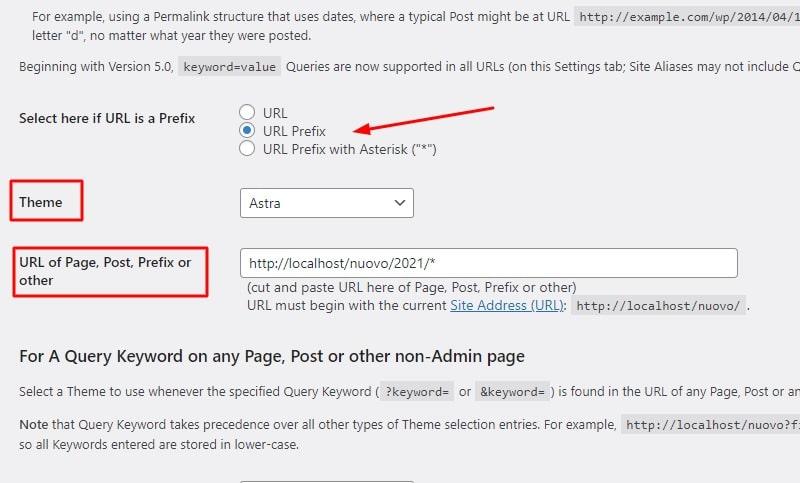 Scegliere il tema in base all'URL
