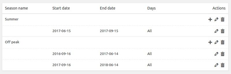 Plugin Hbook per prenotazioni impostare stagioni