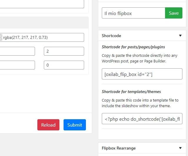 Shortcode e codici flipbox