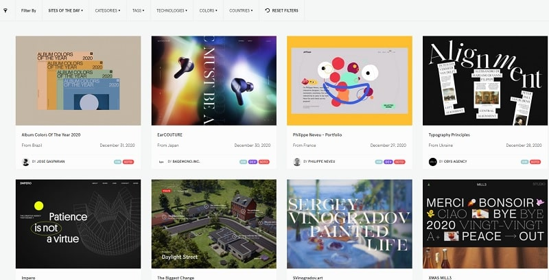Sites of the day Awwwards