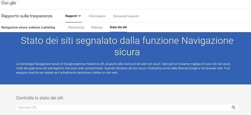 Strumento di Google per verificare se sito è affetto da malware