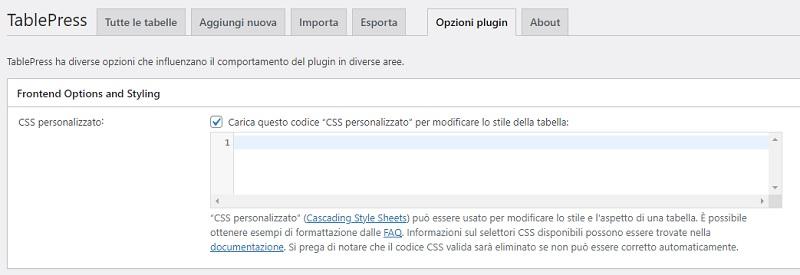 CSS personalizzato TablePress