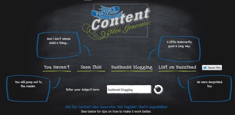 Portent Content Idea Generator per scrivere di più sul blog