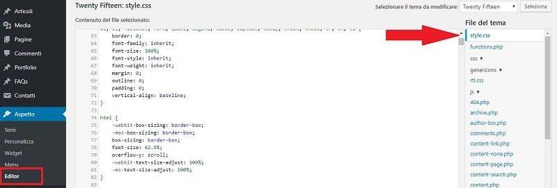 Guida html e css: file style css WordPress