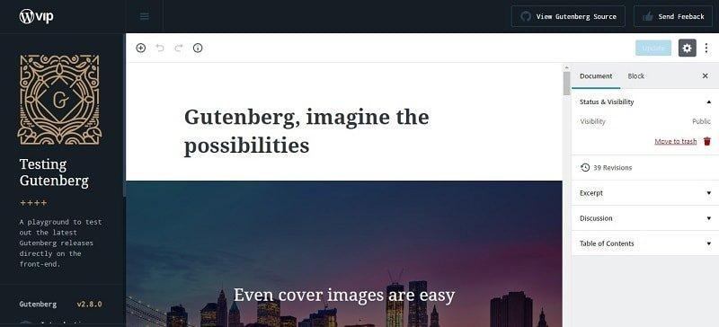 Test online dell'editor WordPress Gutenberg