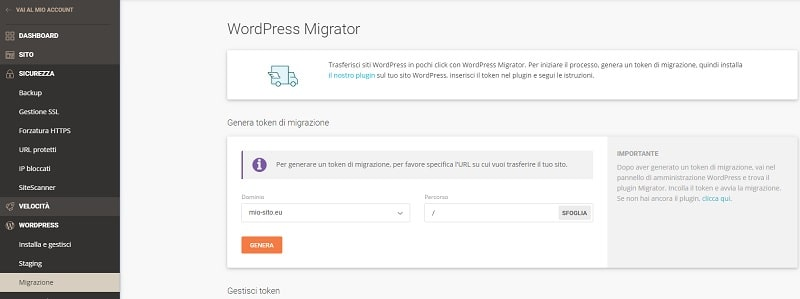 Genera Token SiteGround Migrator