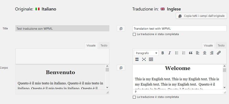 traduzione di un post in inglese in sito multilingua su WordPress