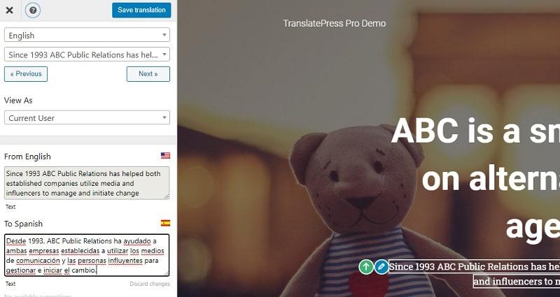 Translate Press traduzioni