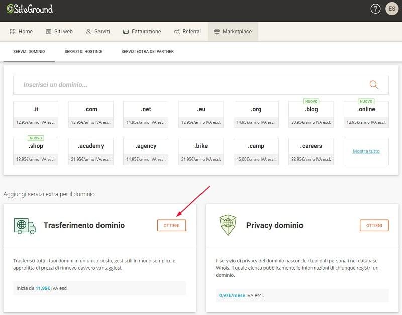 Trasferire un dominio su SiteGround