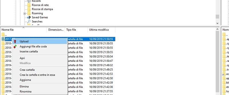 Upload con FileZilla