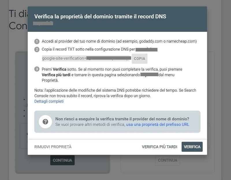 Verifica proprietà Search Console tramite record TXT DNS