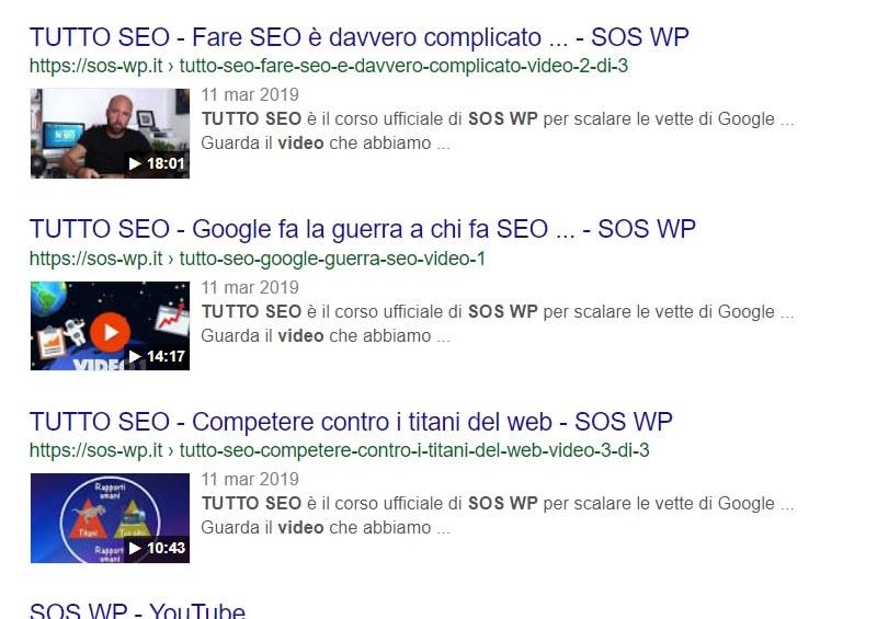 Ottimizzare i video per la SEO - risultati di ricerca su Google