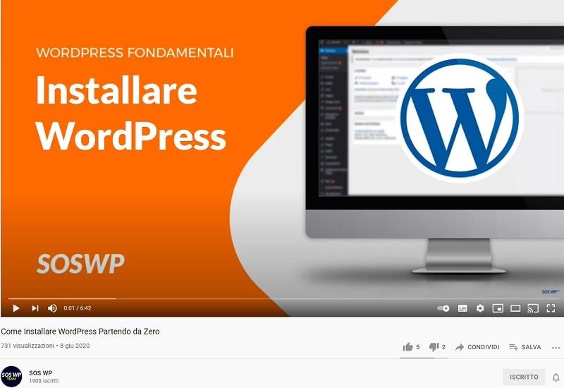 Video YouTube su come installare WordPress