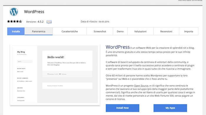 Installare WordPress in italiano tramite Softaculous