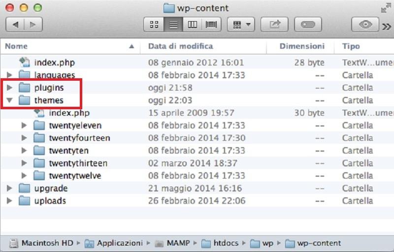 cartella wp-content Mac