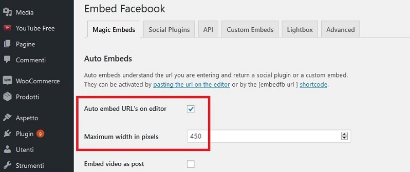 WP Embed Facebook per inserire un video Facebook in WordPress