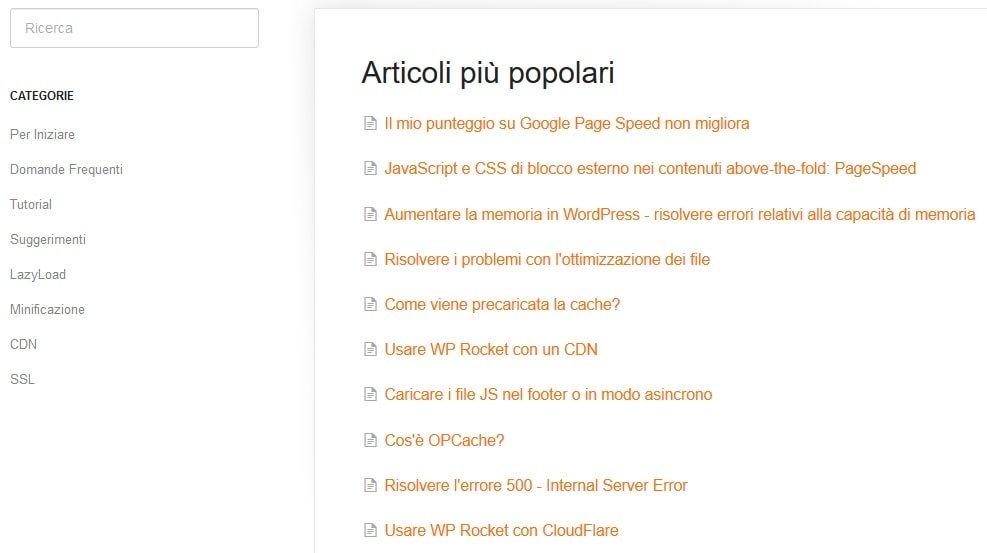 Articoli più popolari della documentazione WP Rocket
