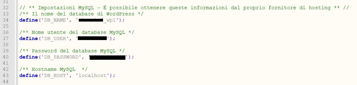 Correggi credenziali per risolvere errore di connessione al database